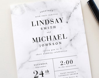 Modern Marble Wedding Invitation Set | Marble Wedding Invite, Modern Wedding Invitations, Marble Invitations, Black White, Modern Design