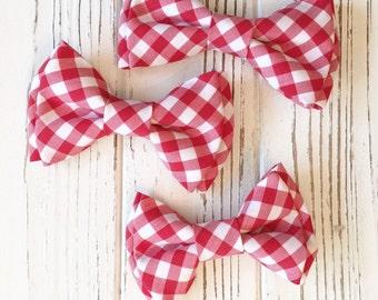 Red Gingham bowtie- red white checkered bow tie- bowties and hairbows - red bowtie -red gingham bow - Dog bowtie- Valentine's Day bow tie