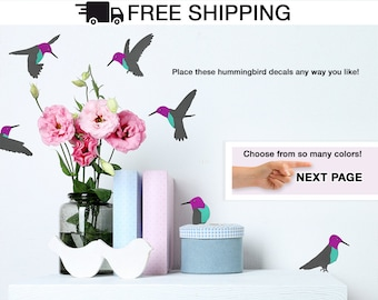 Hummingbirds Wall Decal  - Set of 6 Birds Total - Humming Bird Vinyl Wall Sticker A Todeco Product