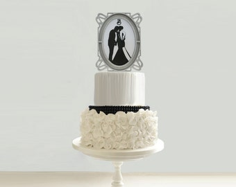 Vintage Art Nouveau Wedding Cake Topper 8IN - 10IN - 12IN  Add-on