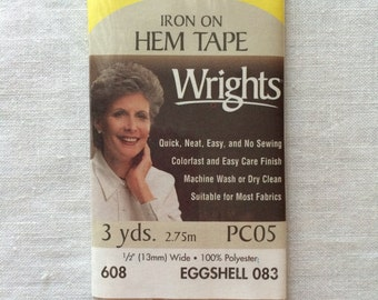 """New Eggshell Light Beige Iron On Hem Tape 1/2"""" (13 mm) wide x 3 yards (2.75 m) long by Wrights 100% Polyester"""