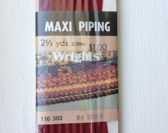"""Vintage New Berry Red Bias Corded Maxi Piping Trim in Package 1/2"""" wide x 2-1/2 yards long by Wrights"""