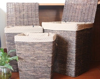 Dark handwoven laundry hamper/rustic home decor/green furniture/ straw basket/wedding gift/storage basekt/GrasShanghai