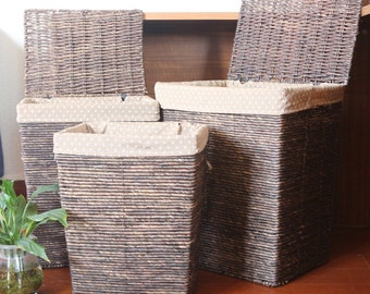 Dark handwoven laundry hamper/rustic home decor/Wholesales bulk/ straw basket/wedding gift/storage basekt/GrasShanghai