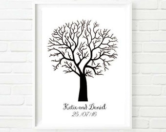 Finger Print Guest Book Wedding Tree A3 Sign