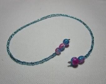 Seed bead bookmark - blue