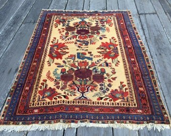 Beautiful Birds Antique Persian Rug 5x6ft Tribal Afshar Rug c.1920s