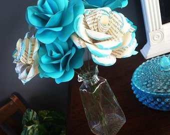 Paper flowers storybook roses loose flowers for arrangments, bouquets, centerpieces, home decor, gifts book page flower