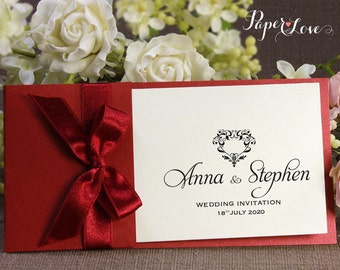 Side Satin Ribbon Red Pocket Personalised Wedding Invitation Multiple Designs Handmade