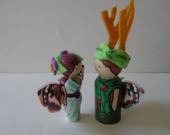Titania and Oberon Fairy Queen and King Peg Dolls