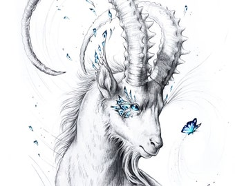 Capricorn - Special Edition Signed Fine Art Giclee Print - Wall Decor - Fantasy Goat Drawing