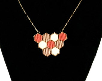 Red white and bronze honeycomb necklace