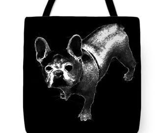 French bulldog Tote Bag,Black and White,Tote Bag,Decorator Bag,Frenchie Dog Bag,Beach Bag,Abstract Shoulder Bag,13x13 16x16 18x18