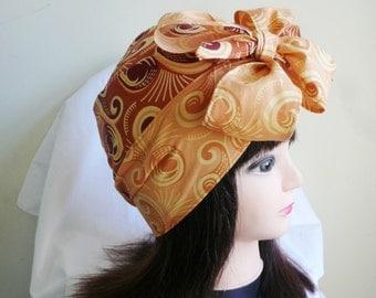 Peach and Brown Ankara Jiffy Head Wrap, African Wax Headtie, Stylish Hair Accessory