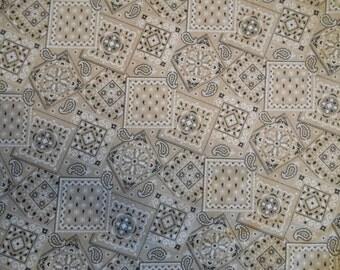 Khaki Bandana cotton fabric by the yard