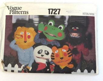 1970s Vogue 1727 Animal Masks Pattern Large Envelope