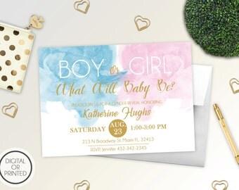 Gender Reveal Invitation   Watercolor Gender Reveal Invitation   Baby Reveal Invitations   Blue or Pink Gender Reveal Invitation   Boho