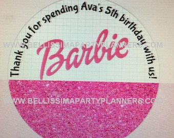 Barbie custom thank you labels- we can customize any theme!