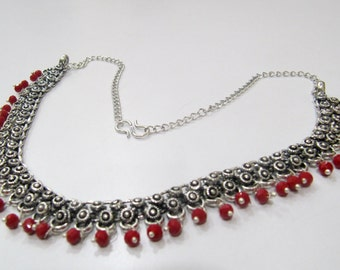 Unique Stylish Oxidized Silver Necklace | White metal Vintage necklace | Tribal Jewelry | Costume fashion necklace | Hydro Coral Beads