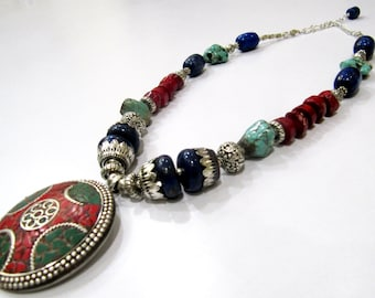 Modish Tibetan Pendant Necklace 22 inch Long| Beaded Stone Necklace | Tribal Nepalese Jewelry | Oxidized White metal Necklace Multi Color