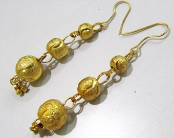 Beautiful Long earrings/Metal Beaded Jewelry Gold Plated / Earring with Hanging Gold Beads / Unbelievable Prices