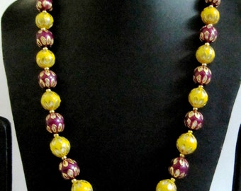 Asian Enamel Art / Designer Beaded necklace 21 inch long/ Enamel Vintage Beads 20mm Round / Fashion Jewelry Trendy Style / Top Quality
