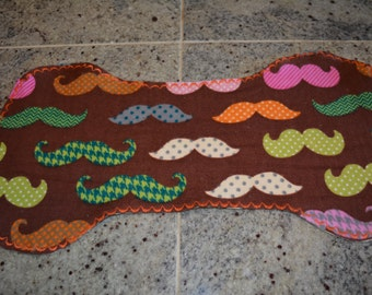 Flannel Burp Cloth - Brown w/Colorful Mustaches