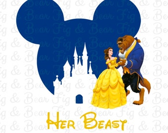 His Beauty Her Beast Disney Couples T-Shirts Iron On Transfers Beauty and the Beast