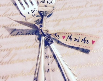 I Do - Me Too - Hand Stamped Vintage Wedding Forks by MariLouImpressions - Perfect Unique Wedding Gift -