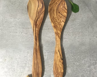 Cooking Spoons Olive Wood, Wooden Serving Cutlery, Eating Spoon, Olive Wood Utensils, Wooden set of Spoons,