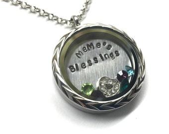 MEME'S BLESSINGS - Customizable Floating Charm Locket - Memory Locket - Custom Hand Stamped Gift for MeMe