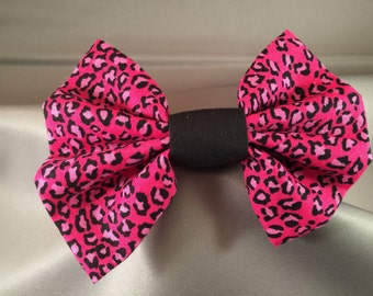 Pink Leopard Print Hair Bow, Rockabilly Hair Bow, Hair Bow Clip