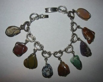 Art Deco Mexican Sterling Silver and Agate Stone Bracelet