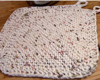 Set of 2 100 percent cotton Hand Knit Potholders /Trivets