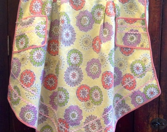 Vintage cotton apron, two pockets, pink trim and rick rac, 'Admiration'  tag, geometric floral print.
