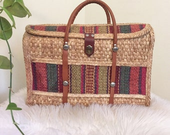 Boho Top Handle Basket Bag