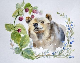 Original watercolor painting Bear and raspberry Watercolour Art