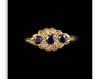 Antique Style Sapphire And Diamond Ring 9Ct Gold