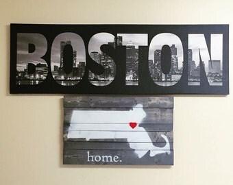 Massachusetts Wood Sign Home