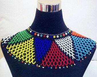 Zulu beads in rainbow colours.