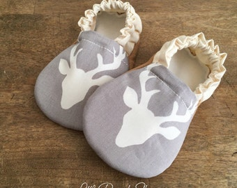 Buck baby shoes | Deer baby shoes | Handmade baby shoes | Baby boy shoes | Neutral baby shoes | Gray baby shoes | Baby girl shoes