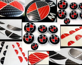 BLACK & RED Carbon Fiber Complete Set Vinyl Sticker Overlay All BMW Emblems