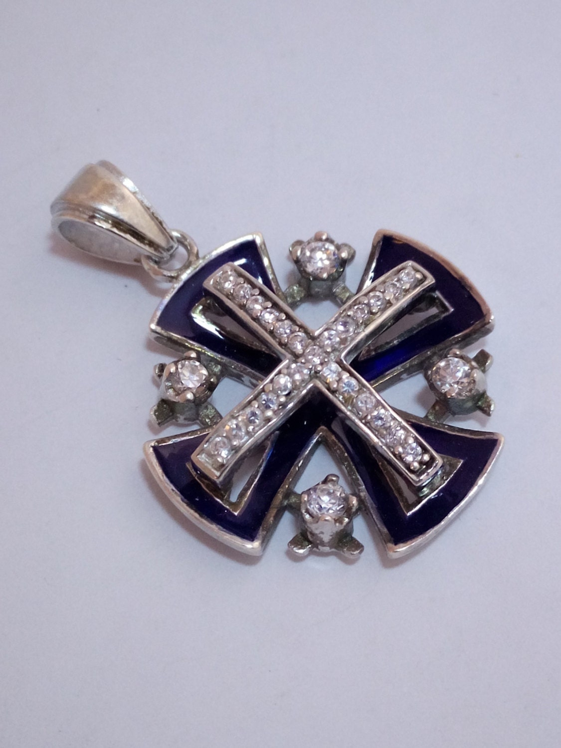 vintage jerusalem cross sterling cross pendant crusaders
