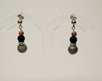 Druzy Crystal swarovski, freshwater pearl and gemstone Stud Earrings