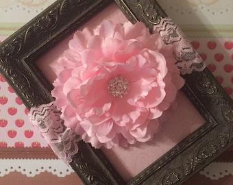Pink Flower Headband, Pink Peony Headband, Pink Lace Headband, Flower Headband, Embellished Flower Headband, First  Birthday, Cake Smash