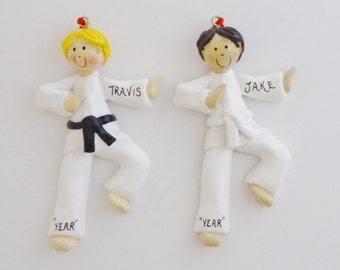 Personalized Karate Boy Ornament with Custom Belt Color