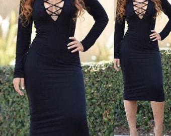 BLACK MIDI DRESS Deep V Tie Up