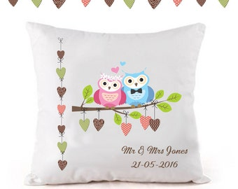 Personalised wedding cushion, Anniversary cushion, personalised wedding gift, unique gift, for the bride and groom