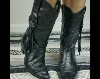 Vintage 1980s Laredo Black Leather Cowboy Boots w/ Side Tassel/Fringe size 8