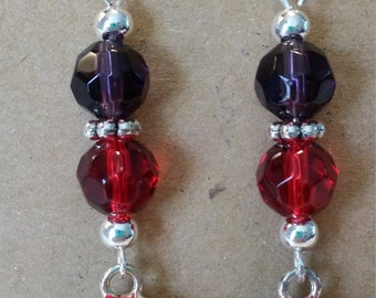 Red Hatter Society Themed Dangle Earrings with Crystals, and Red Hat with Purple Bow Charms